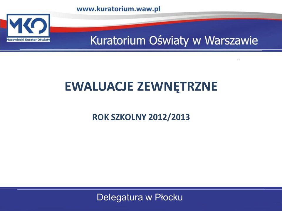 EWALUACJE ZEWNĘTRZNE ROK SZKOLNY 2012/2013