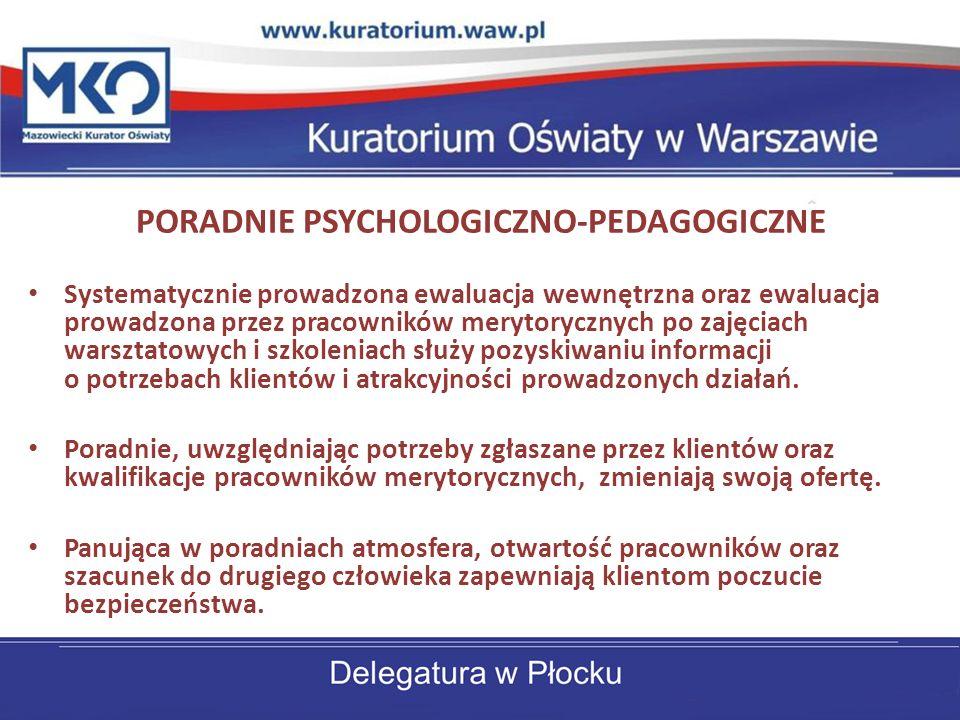 PORADNIE PSYCHOLOGICZNO-PEDAGOGICZNE Systematycznie prowadzona ewaluacja wewnętrzna oraz ewaluacja prowadzona przez pracowników merytorycznych po zaję