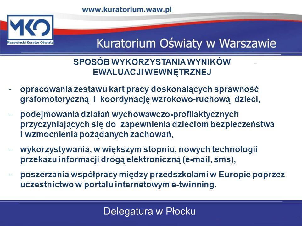 -opracowania zestawu kart pracy doskonalących sprawność grafomotoryczną i koordynację wzrokowo-ruchową dzieci, -podejmowania działań wychowawczo-profilaktycznych przyczyniających się do zapewnienia dzieciom bezpieczeństwa i wzmocnienia pożądanych zachowań, -wykorzystywania, w większym stopniu, nowych technologii przekazu informacji drogą elektroniczną (e-mail, sms), -poszerzania współpracy między przedszkolami w Europie poprzez uczestnictwo w portalu internetowym e-twinning.