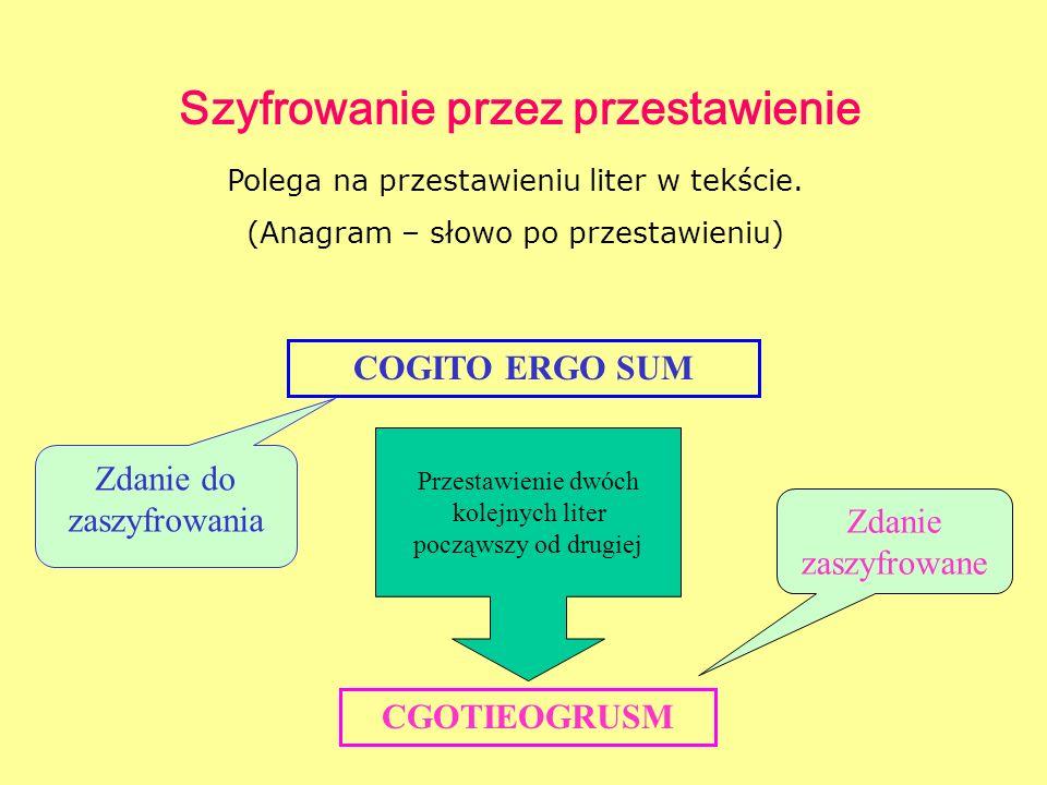 Szyfrowanie przez przestawienie Polega na przestawieniu liter w tekście. (Anagram – słowo po przestawieniu) CGOTIEOGRUSM Zdanie zaszyfrowane COGITO ER