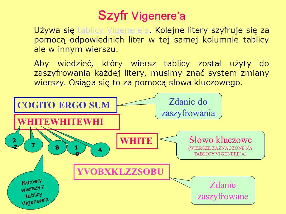 Szyfr Vigenerea Używa się tablicy Vigenerea. Kolejne litery szyfruje się za pomocą odpowiednich liter w tej samej kolumnie tablicy ale w innym wierszu