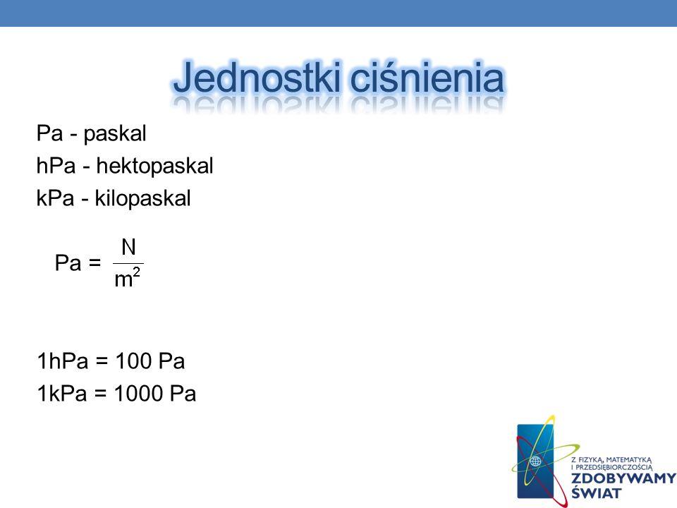 Pa - paskal hPa - hektopaskal kPa - kilopaskal Pa = 1hPa = 100 Pa 1kPa = 1000 Pa
