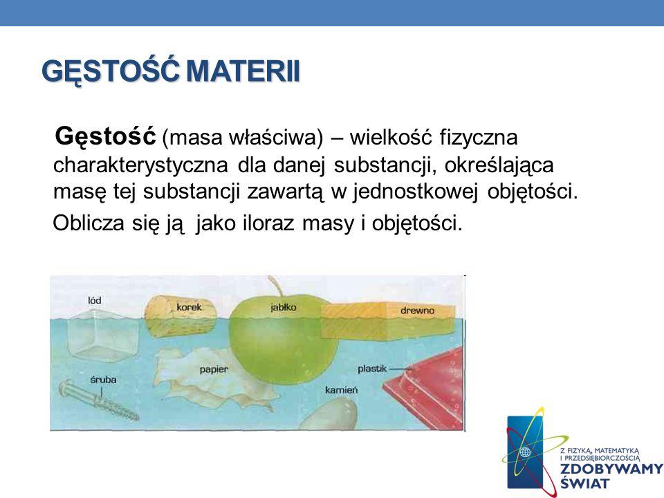 GĘSTOŚĆ MATERII Gęstość (masa właściwa) – wielkość fizyczna charakterystyczna dla danej substancji, określająca masę tej substancji zawartą w jednostk