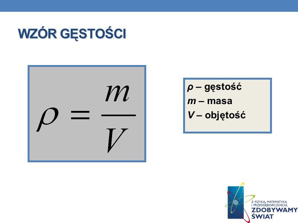 WZÓR GĘSTOŚCI ρ – gęstość m – masa V – objętość
