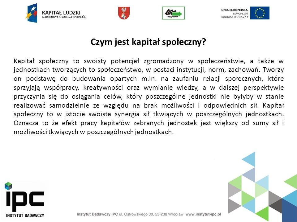 Czym jest kapitał społeczny? Kapitał społeczny to swoisty potencjał zgromadzony w społeczeństwie, a także w jednostkach tworzących to społeczeństwo, w