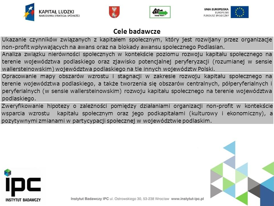Cele badawcze Ukazanie czynników związanych z kapitałem społecznym, który jest rozwijany przez organizacje non-profit wpływających na awans oraz na bl