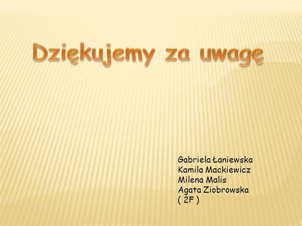 Gabriela Łaniewska Kamila Mackiewicz Milena Malis Agata Ziobrowska ( 2F )