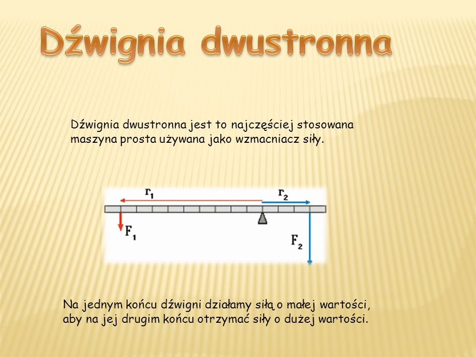 Dźwignia dwustronna jest to najczęściej stosowana maszyna prosta używana jako wzmacniacz siły. Na jednym końcu dźwigni działamy siłą o małej wartości,
