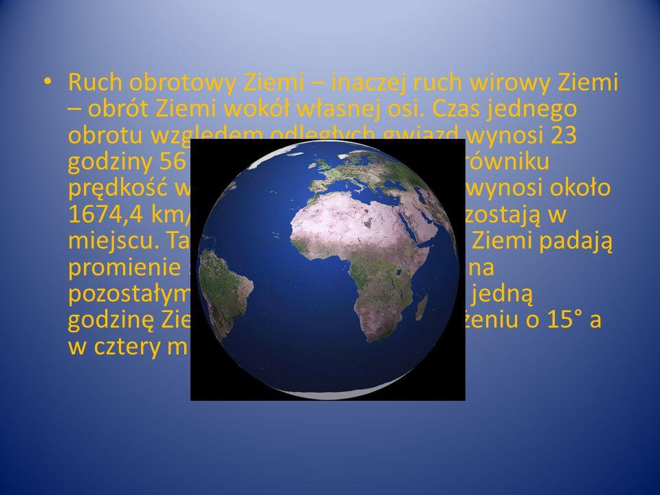 Ruch obrotowy Ziemi – inaczej ruch wirowy Ziemi – obrót Ziemi wokół własnej osi. Czas jednego obrotu względem odległych gwiazd wynosi 23 godziny 56 mi