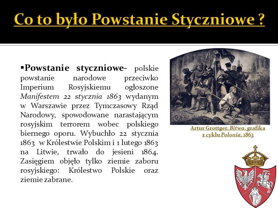 Artur Grottger, Bitwa, grafika z cyklu Polonia, 1863 Powstanie styczniowe- polskie powstanie narodowe przeciwko Imperium Rosyjskiemu ogłoszone Manifes