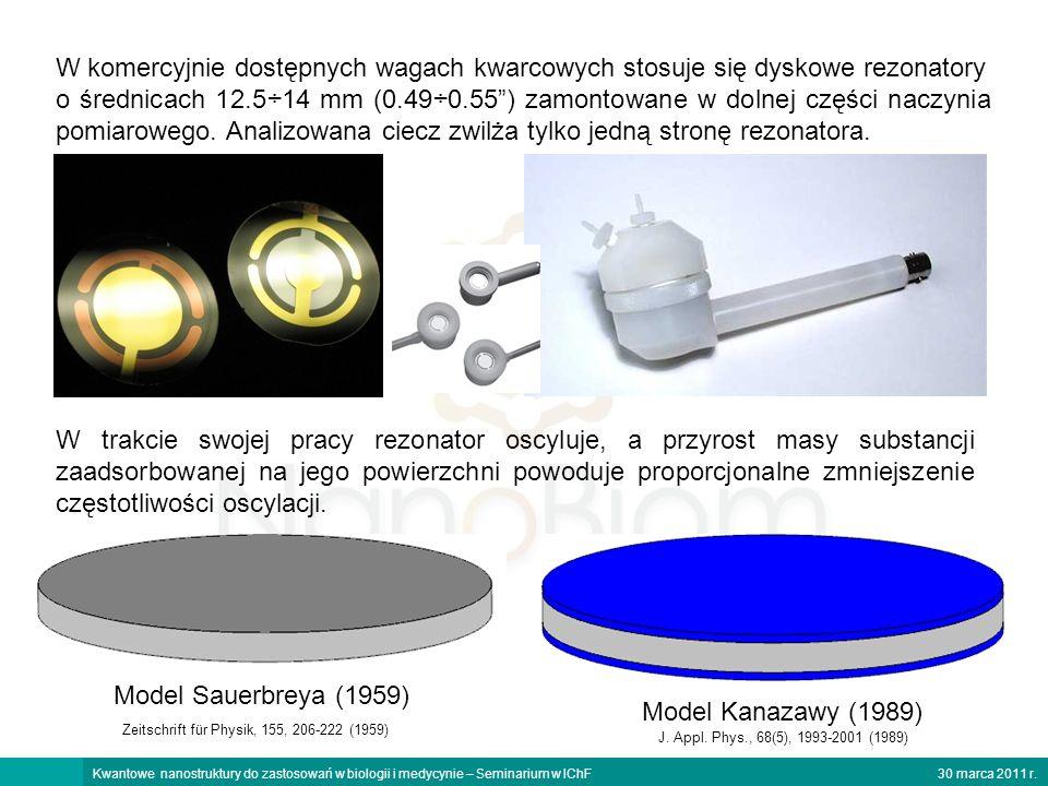 30 marca 2011 r.Kwantowe nanostruktury do zastosowań w biologii i medycynie – Seminarium w IChF W komercyjnie dostępnych wagach kwarcowych stosuje się dyskowe rezonatory o średnicach 12.5÷14 mm (0.49÷0.55) zamontowane w dolnej części naczynia pomiarowego.