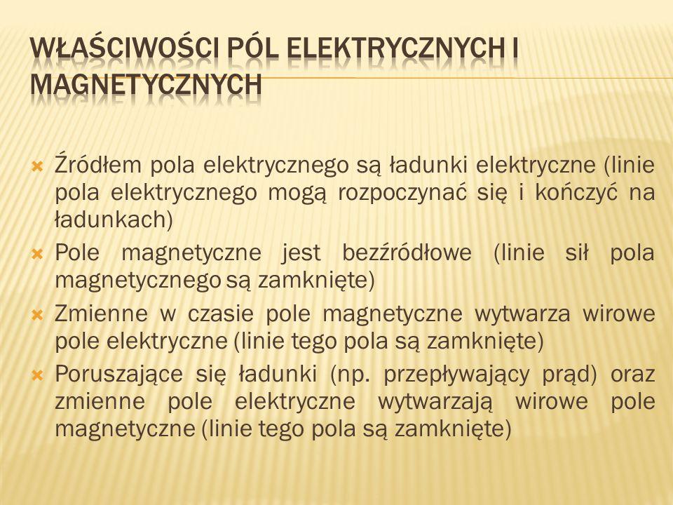 Źródłem pola elektrycznego są ładunki elektryczne (linie pola elektrycznego mogą rozpoczynać się i kończyć na ładunkach) Pole magnetyczne jest bezźród