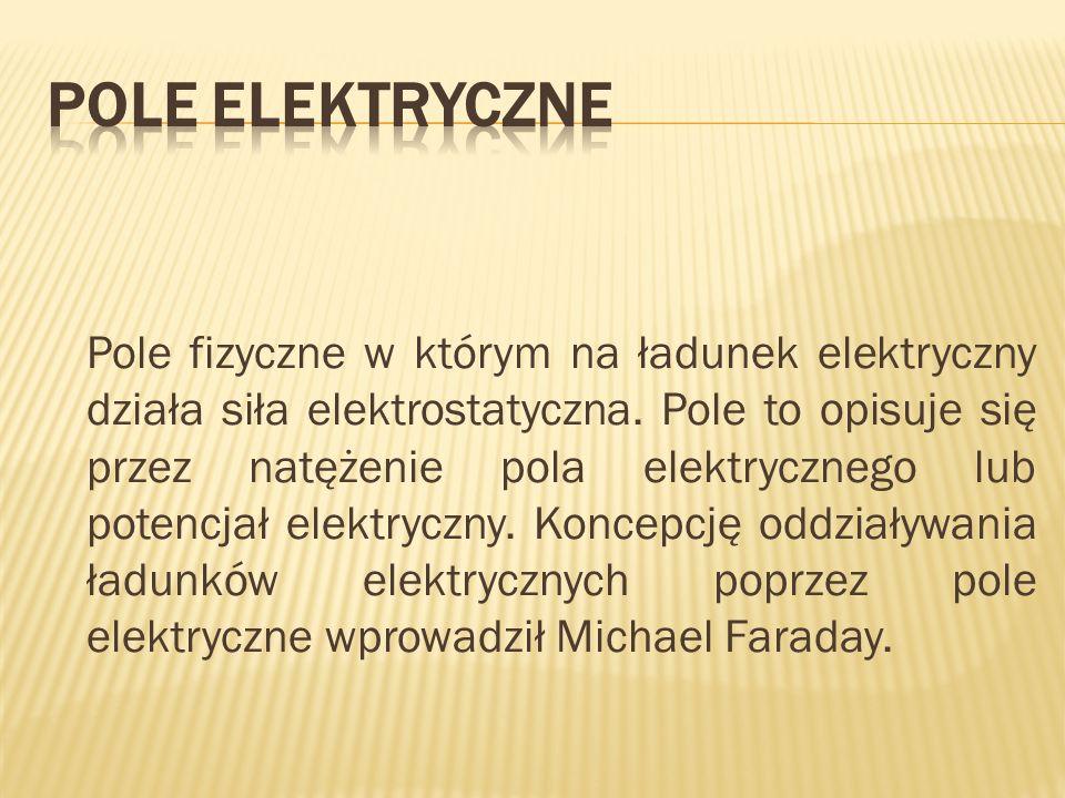 Pole fizyczne w którym na ładunek elektryczny działa siła elektrostatyczna. Pole to opisuje się przez natężenie pola elektrycznego lub potencjał elekt