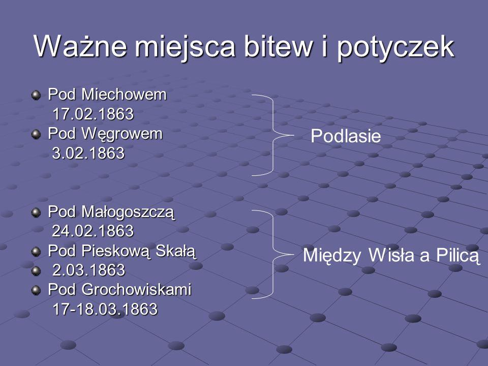 Ważne miejsca bitew i potyczek Pod Miechowem 17.02.1863 17.02.1863 Pod Węgrowem 3.02.1863 3.02.1863 Pod Małogoszczą 24.02.1863 24.02.1863 Pod Pieskową