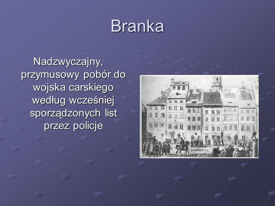 Branka Nadzwyczajny, przymusowy pobór do wojska carskiego według wcześniej sporządzonych list przez policje