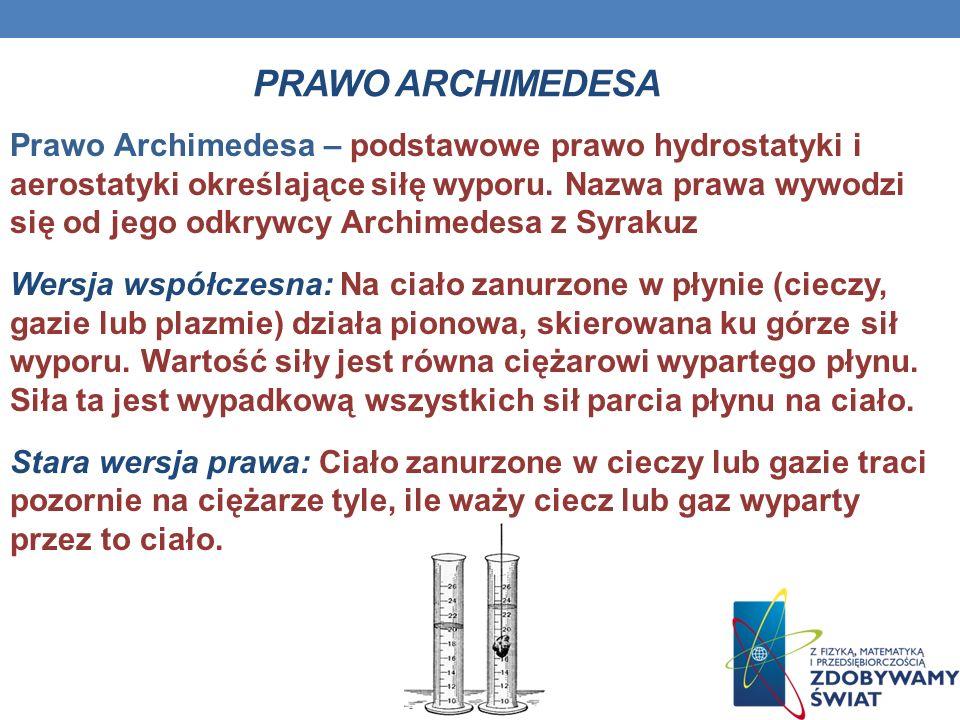 PRAWO ARCHIMEDESA Prawo Archimedesa – podstawowe prawo hydrostatyki i aerostatyki określające siłę wyporu. Nazwa prawa wywodzi się od jego odkrywcy Ar