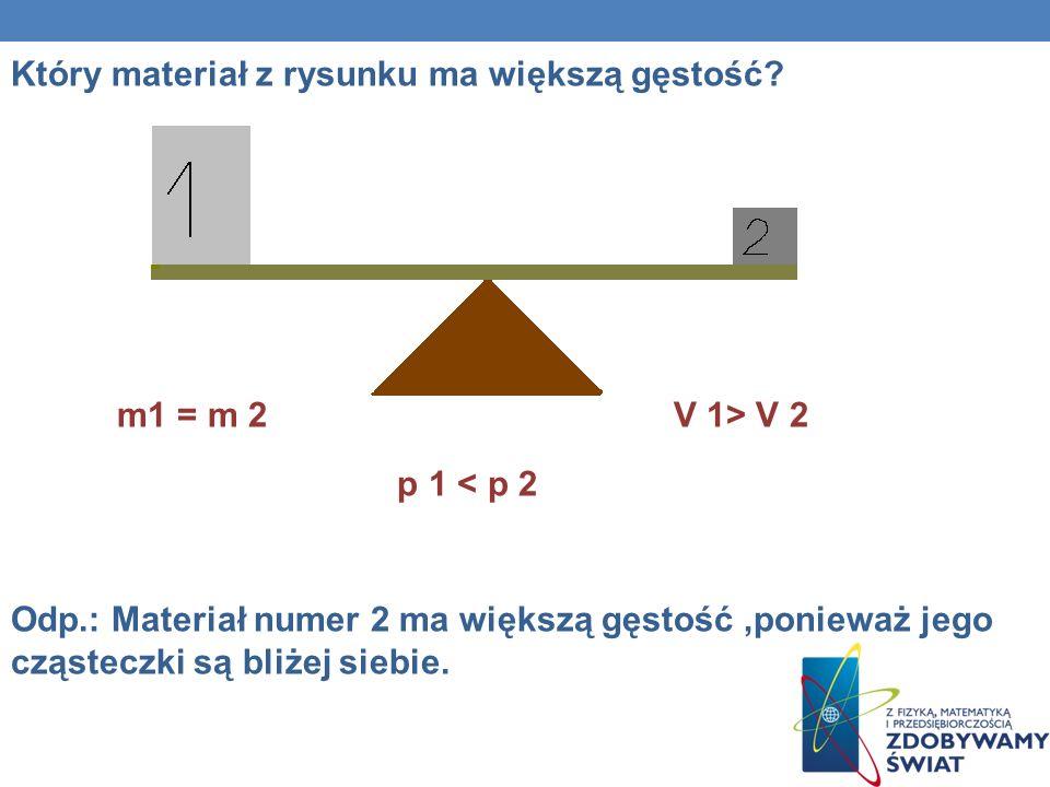 Który materiał z rysunku ma większą gęstość? m1 = m 2 V 1> V 2 p 1 < p 2 Odp.: Materiał numer 2 ma większą gęstość,ponieważ jego cząsteczki są bliżej