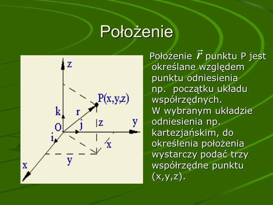 Położenie Położenie punktu P jest określane względem punktu odniesienia np.