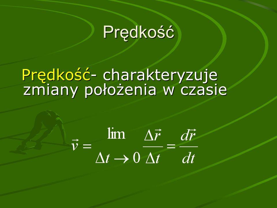 Prędkość Prędkość- charakteryzuje zmiany położenia w czasie Prędkość- charakteryzuje zmiany położenia w czasie