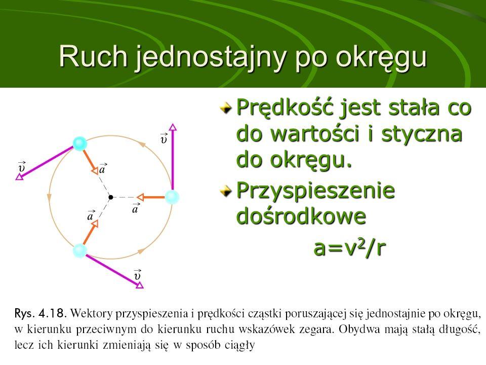 Ruch jednostajny po okręgu Prędkość jest stała co do wartości i styczna do okręgu.