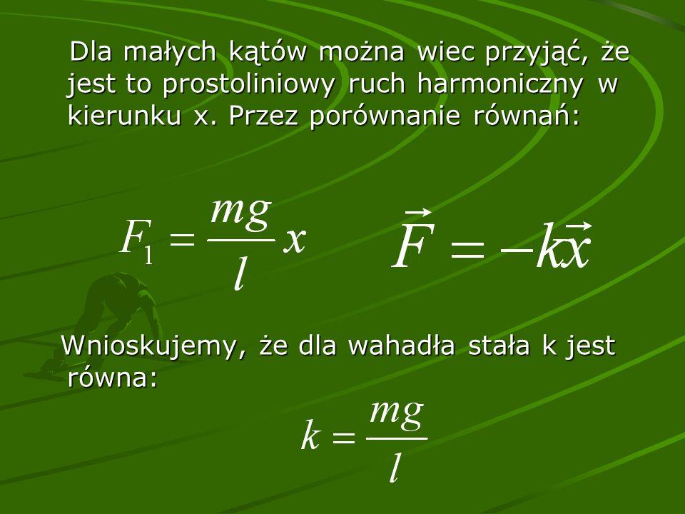 Dla małych kątów można wiec przyjąć, że jest to prostoliniowy ruch harmoniczny w kierunku x.