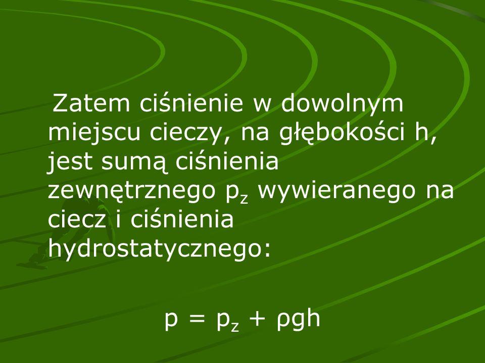 Zatem ciśnienie w dowolnym miejscu cieczy, na głębokości h, jest sumą ciśnienia zewnętrznego p z wywieranego na ciecz i ciśnienia hydrostatycznego: p = p z + ρgh