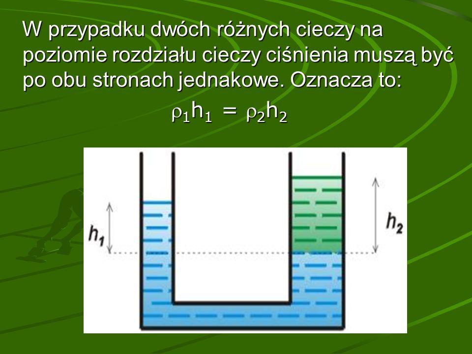 W przypadku dwóch różnych cieczy na poziomie rozdziału cieczy ciśnienia muszą być po obu stronach jednakowe.