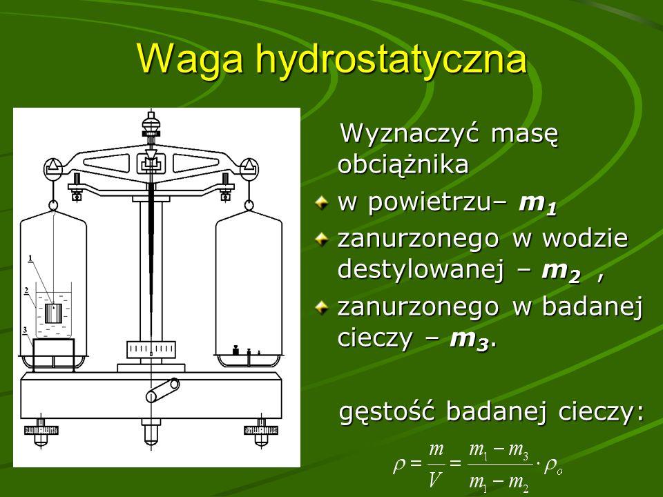 Waga hydrostatyczna Wyznaczyć masę obciążnika Wyznaczyć masę obciążnika w powietrzu– m 1 zanurzonego w wodzie destylowanej – m 2, zanurzonego w badanej cieczy – m 3.