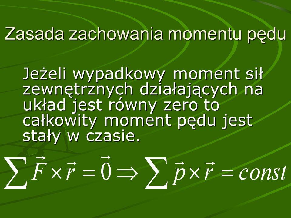 Zasada zachowania momentu pędu Jeżeli wypadkowy moment sił zewnętrznych działających na układ jest równy zero to całkowity moment pędu jest stały w czasie.