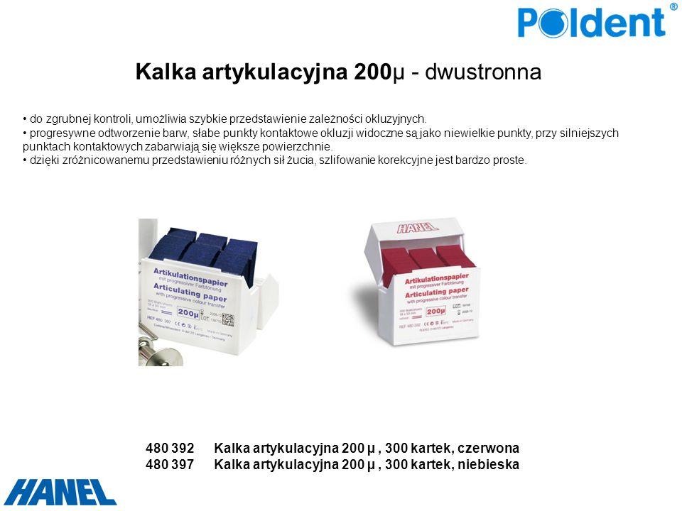Kalka artykulacyjna 200µ - dwustronna do zgrubnej kontroli, umożliwia szybkie przedstawienie zależności okluzyjnych. progresywne odtworzenie barw, sła