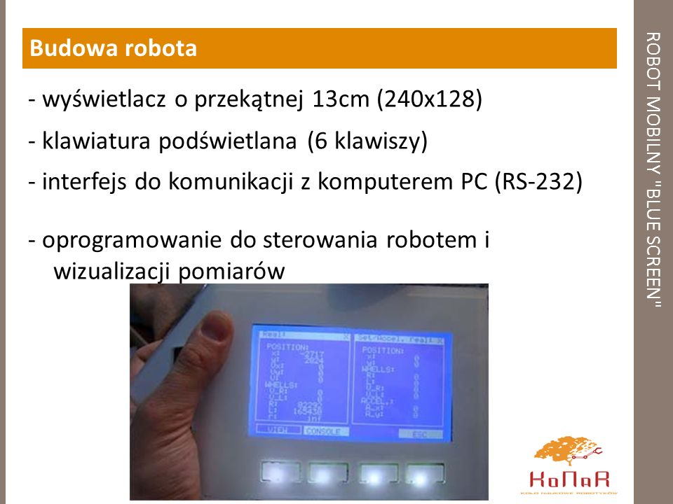 ROBOT MOBILNY BLUE SCREEN Budowa robota