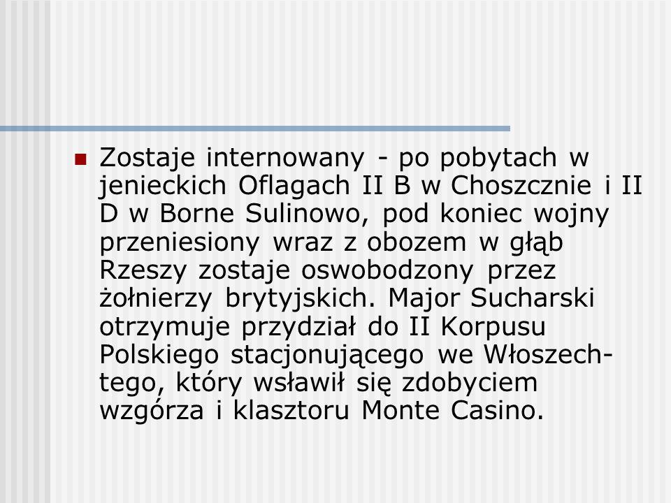 Zostaje internowany - po pobytach w jenieckich Oflagach II B w Choszcznie i II D w Borne Sulinowo, pod koniec wojny przeniesiony wraz z obozem w głąb