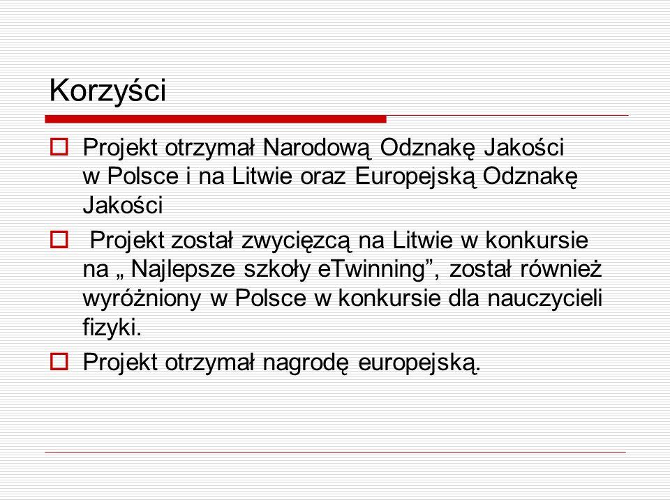 Korzyści Projekt otrzymał Narodową Odznakę Jakości w Polsce i na Litwie oraz Europejską Odznakę Jakości Projekt został zwycięzcą na Litwie w konkursie