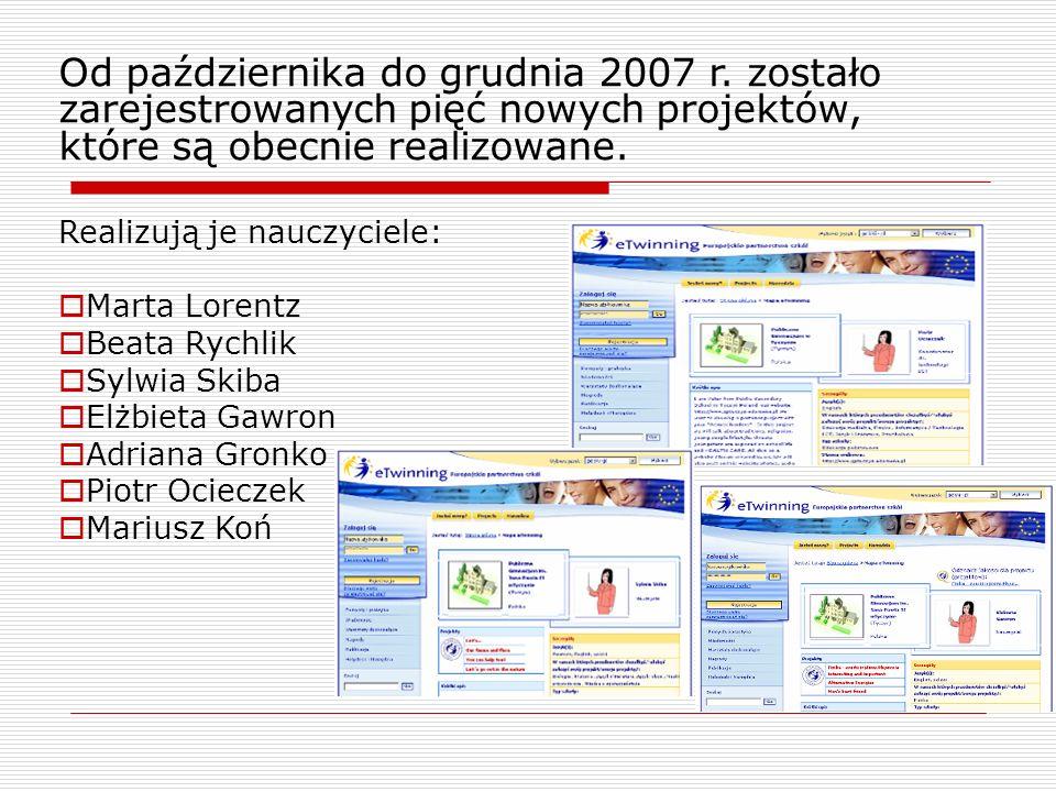 Od października do grudnia 2007 r. zostało zarejestrowanych pięć nowych projektów, które są obecnie realizowane. Realizują je nauczyciele: Marta Loren