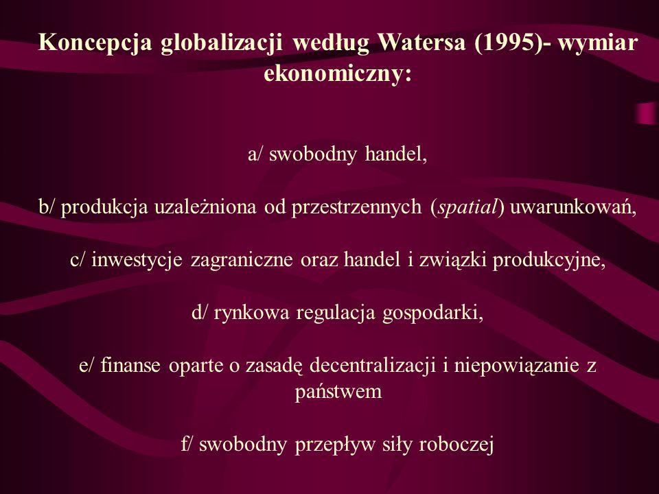 Koncepcja globalizacji według Watersa (1995)- wymiar ekonomiczny: a/ swobodny handel, b/ produkcja uzależniona od przestrzennych (spatial) uwarunkowań