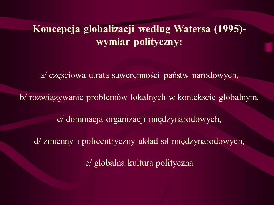Koncepcja globalizacji według Watersa (1995)- wymiar polityczny: a/ częściowa utrata suwerenności państw narodowych, b/ rozwiązywanie problemów lokaln