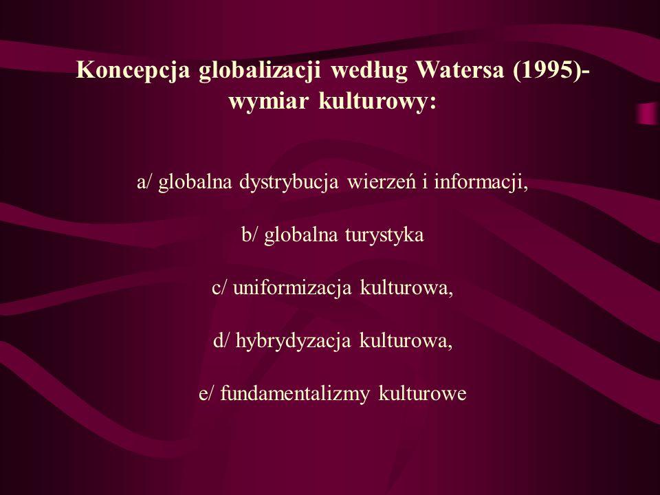Koncepcja globalizacji według Watersa (1995)- wymiar kulturowy: a/ globalna dystrybucja wierzeń i informacji, b/ globalna turystyka c/ uniformizacja k