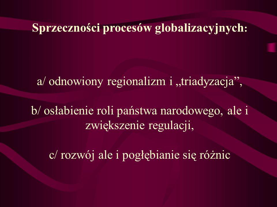 Sprzeczności procesów globalizacyjnych : a/ odnowiony regionalizm i triadyzacja, b/ osłabienie roli państwa narodowego, ale i zwiększenie regulacji, c