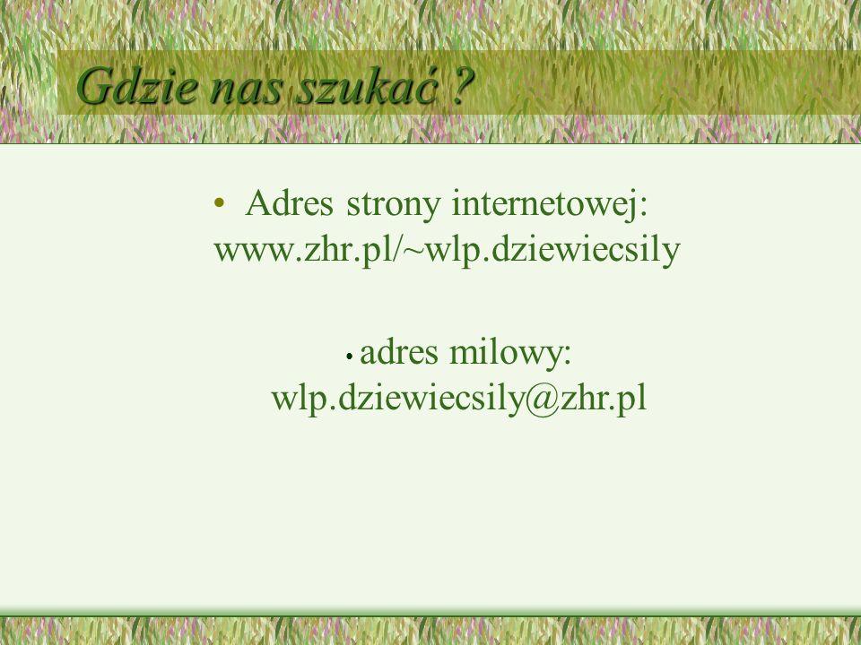Gdzie nas szukać ? Adres strony internetowej: www.zhr.pl/~wlp.dziewiecsily adres milowy: wlp.dziewiecsily@zhr.pl