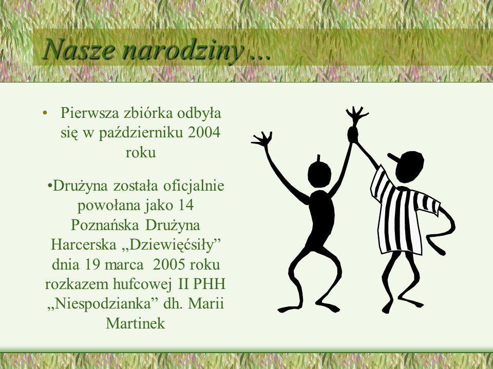 Nasze narodziny... Pierwsza zbiórka odbyła się w październiku 2004 roku Drużyna została oficjalnie powołana jako 14 Poznańska Drużyna Harcerska Dziewi
