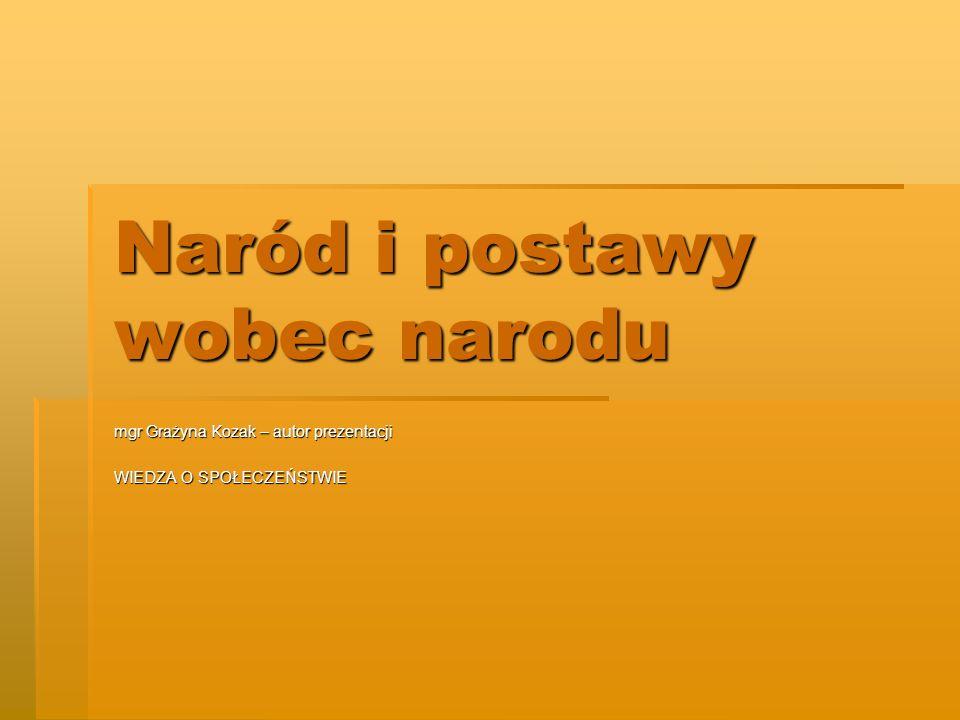 Naród i postawy wobec narodu mgr Grażyna Kozak – autor prezentacji WIEDZA O SPOŁECZEŃSTWIE