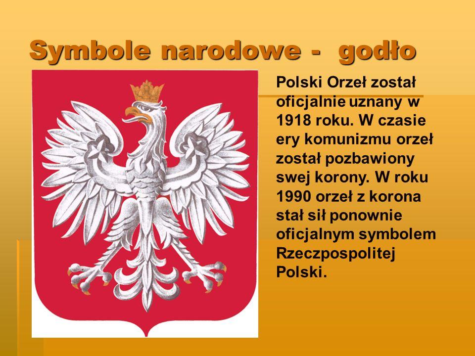 Symbole narodowe - godło Polski Orzeł został oficjalnie uznany w 1918 roku.