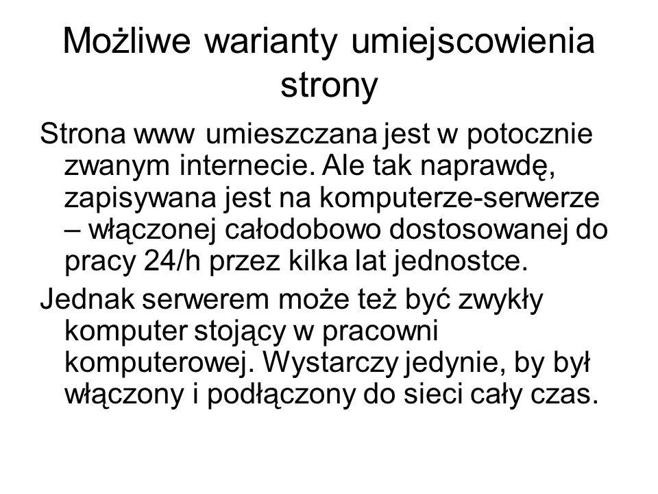 Możliwe warianty umiejscowienia strony Strona www umieszczana jest w potocznie zwanym internecie. Ale tak naprawdę, zapisywana jest na komputerze-serw