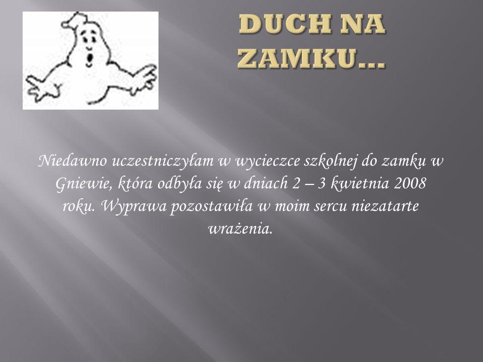 Niedawno uczestniczyłam w wycieczce szkolnej do zamku w Gniewie, która odbyła się w dniach 2 – 3 kwietnia 2008 roku.