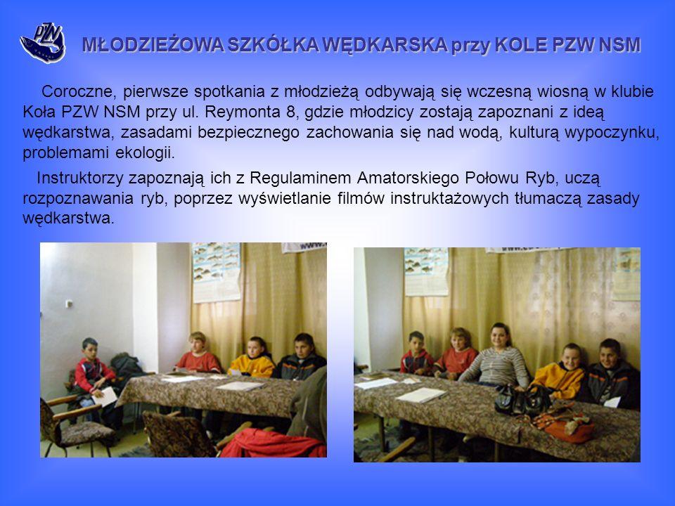 Coroczne, pierwsze spotkania z młodzieżą odbywają się wczesną wiosną w klubie Koła PZW NSM przy ul.