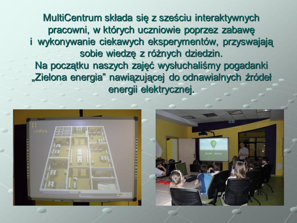 MultiCentrum składa się z sześciu interaktywnych pracowni, w których uczniowie poprzez zabawę i wykonywanie ciekawych eksperymentów, przyswajają sobie wiedzę z różnych dziedzin.