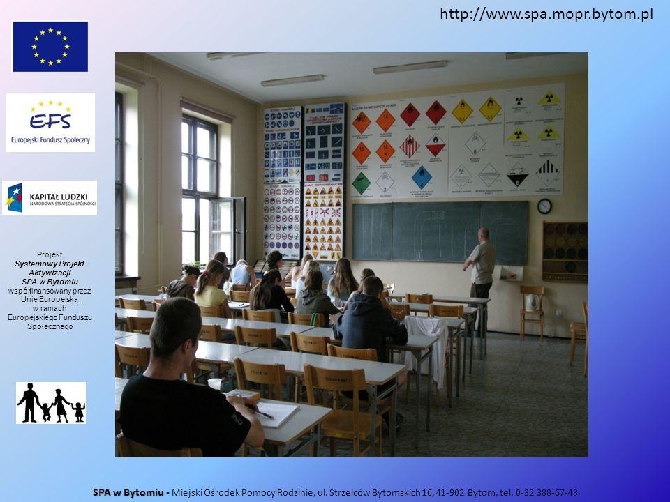SPA w Bytomiu SPA w Bytomiu - Miejski Ośrodek Pomocy Rodzinie, ul. Strzelców Bytomskich 16, 41-902 Bytom, tel. 0-32 388-67-43 http://www.spa.mopr.byto