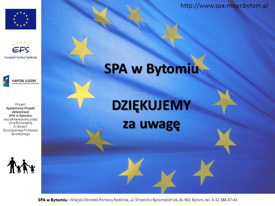 SPA w Bytomiu DZIĘKUJEMY za uwagę SPA w Bytomiu SPA w Bytomiu - Miejski Ośrodek Pomocy Rodzinie, ul. Strzelców Bytomskich 16, 41-902 Bytom, tel. 0-32