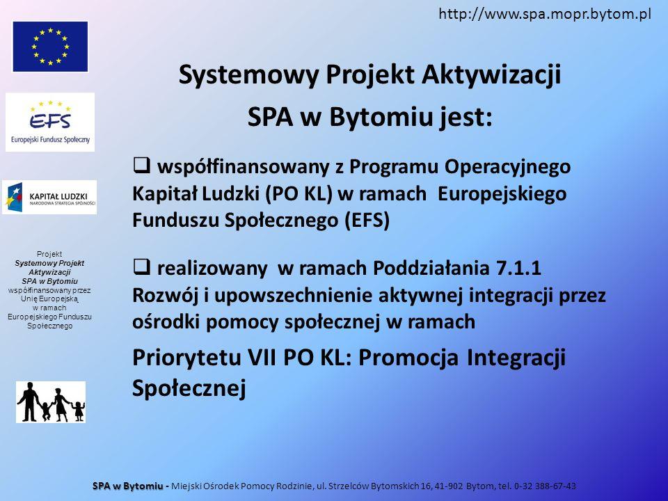 Systemowy Projekt Aktywizacji SPA w Bytomiu jest: współfinansowany z Programu Operacyjnego Kapitał Ludzki (PO KL) w ramach Europejskiego Funduszu Społ