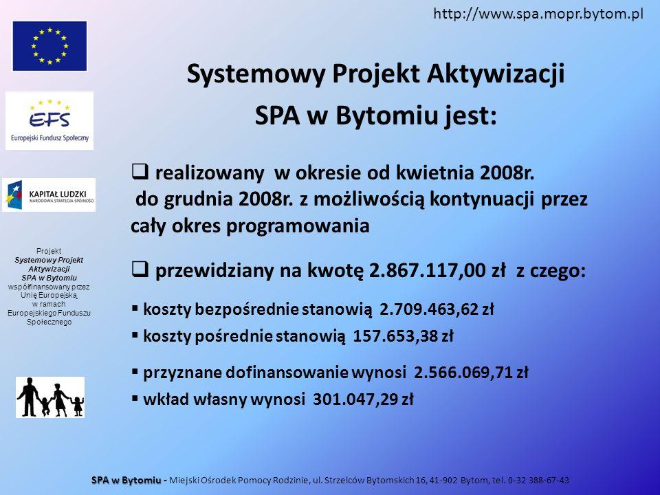 Systemowy Projekt Aktywizacji SPA w Bytomiu jest: realizowany w okresie od kwietnia 2008r. do grudnia 2008r. z możliwością kontynuacji przez cały okre